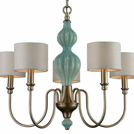 Lilliana Large Chandelier In Seafoam And Aged Silver