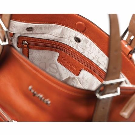 Lily Leather Diaper Bag in Burnt Orange