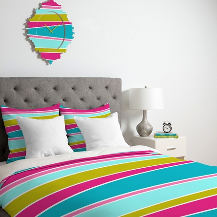 Lily Pad Striped Duvet Cover