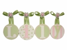 Lily's Green and Pale Pink Hand Painted Round Wall Letters