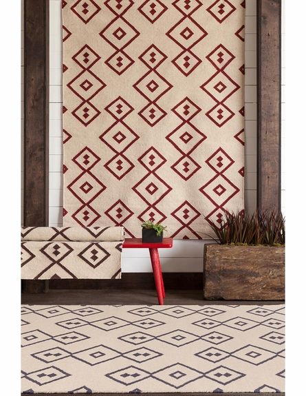 Lima Geo Diamonds Flatweave Rug in Beige and Red