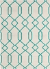 Lima Geo Lattice Flatweave Rug in Ivory and Aqua