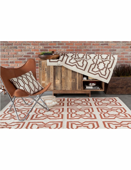 Lima Tiles Flatweave Rug in Orange