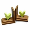 Lime Heart Bookends with Chocolate Base