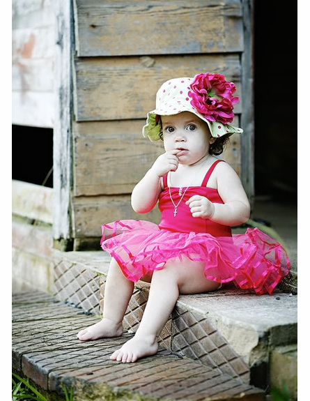 Lime Raspberry Dot Sun Hat with Peony