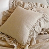 Linen Double Ruffle Throw Pillow