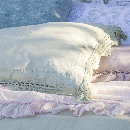 Linen Pillow Sham with Crochet Lace