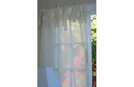 Linen Voile Tie Top Curtain Panel