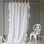 Linen Whisper Curtain Panel with Ruffle