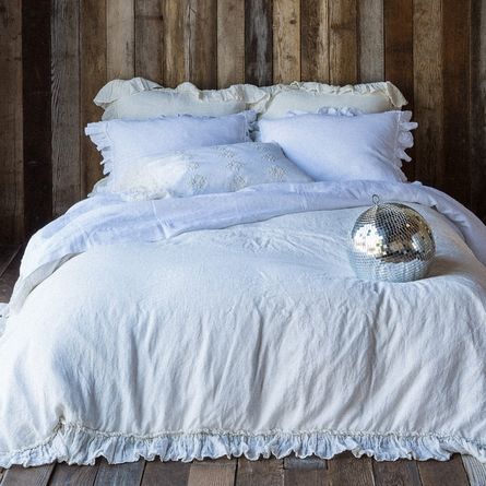 Linen Whisper with Ruffle Duvet Cover