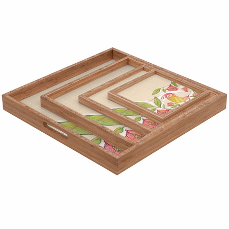 Little Bird on a Flowery Branch Square Tray