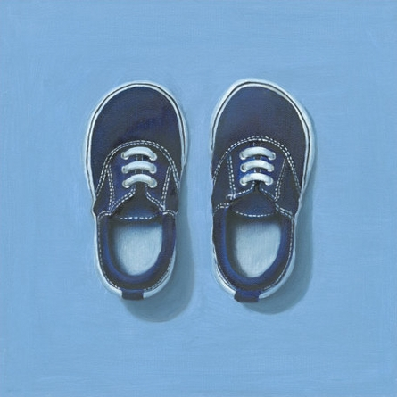 Little Blue Sneakers Canvas Wall Art