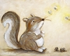 Little Dreamer Squirrel Star Canvas Reproduction
