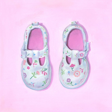 Little Floral Shoes Canvas Wall Art