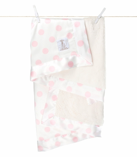 Little Giraffe Luxe Cream Dot Satin Receiving Blanket