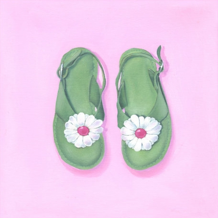 Little Green Sandals Canvas Wall Art