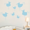 Little Hot Chicks in Blue Pastel Wall Decal