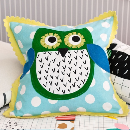Little Owl Aqua Decorative Pillow