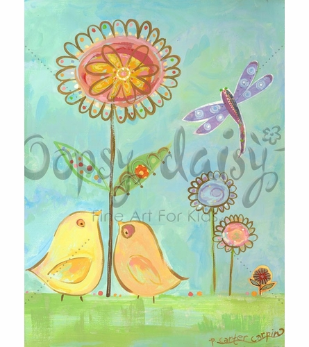 Little Yellow Love Birds Canvas Wall Art