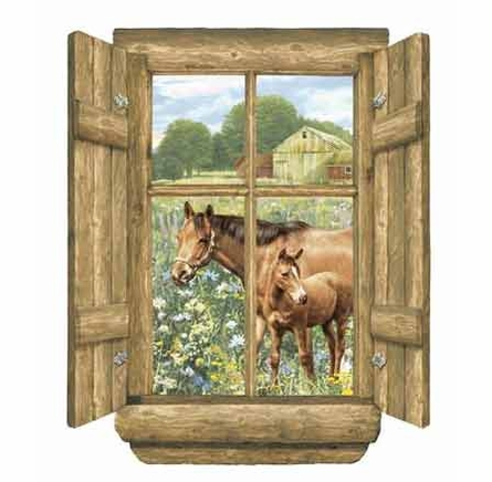 Log Window Horses Peel and Stick Wall Mural