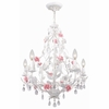 Lola Antique White with Pink Accents Chandelier