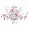 Lola Antique White with Pink Accents Semi-Flush Mount