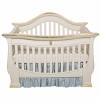 London Crib in Linen and Blue and Gold Gilding