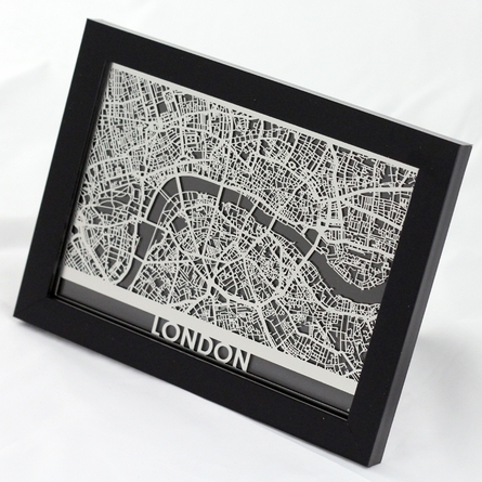 London Stainless Steel Framed Map