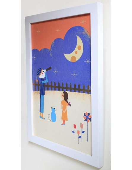 Looking at the Moon Framed Canvas Wall Art