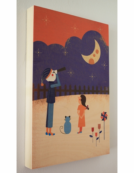 Looking at the Moon Wood Panel Art Print