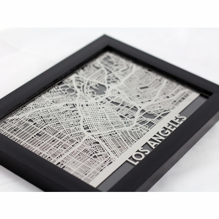 Los Angeles Stainless Steel Framed Map