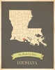 Louisiana My Roots State Map Art Print - Blue