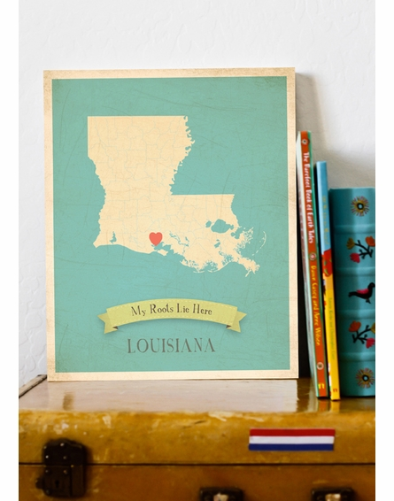 Louisiana My Roots State Map Art Print