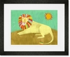 Lounging Lion Framed Art Print