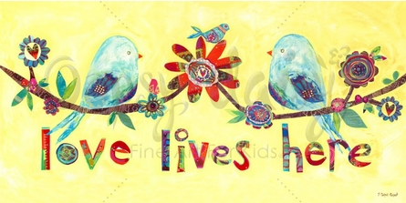 Love Lives Here - Love Birds Canvas Wall Art