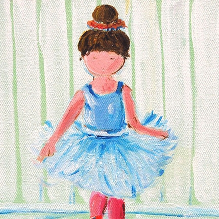 Love My Tutu Ballerina Hand Painted Canvas