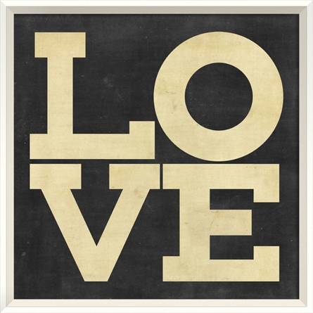 Love Poster in Black and White Framed Wall Art