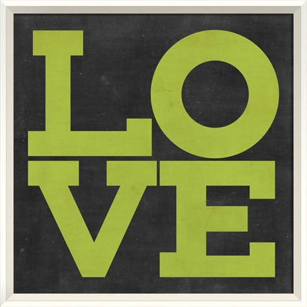 Love Poster in Green Framed Wall Art