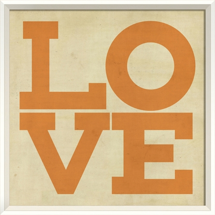 Love Poster in Orange Framed Wall Art