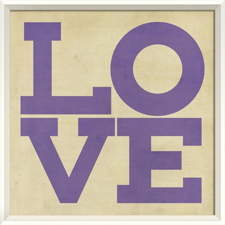 Love Poster in Purple Framed Wall Art