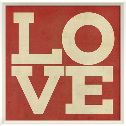 Love Poster in Red Framed Wall Art
