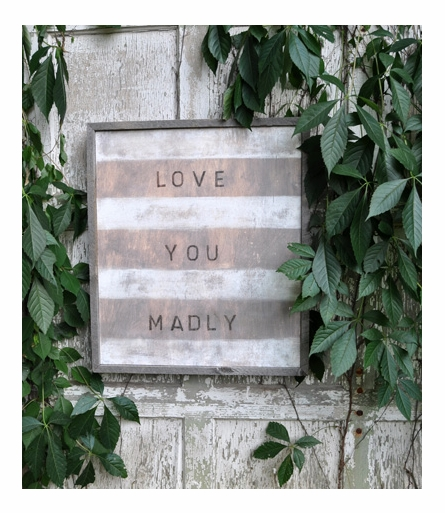 Love You Madly Vintage Art Print with Grey Wood Frame
