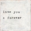 Love You X Forever Small Vintage Art Print on Wood