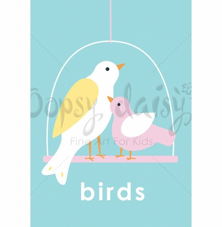 Lovely Birds in Blue Canvas Wall Art