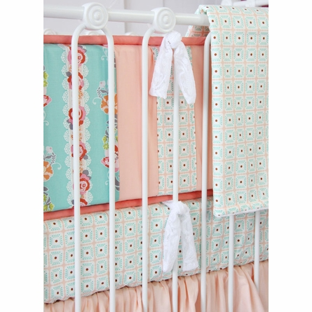 Lovely Coral Lace Crib Bedding Set