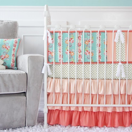 Lovely Coral Lace Crib Bumper
