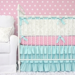 Lovely Damask Aqua Crib Bedding Set