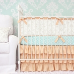 Lovely Damask Coral Crib Bedding Set
