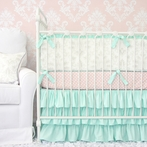 Lovely Damask Mint Crib Bedding Set