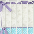 Lovely Damask Purple Crib Bumper